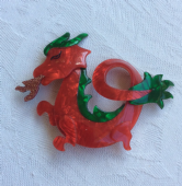 Lea Stein - Fire Breathing Dragon Brooch - Mystical Dragon Jewellery  (sold)